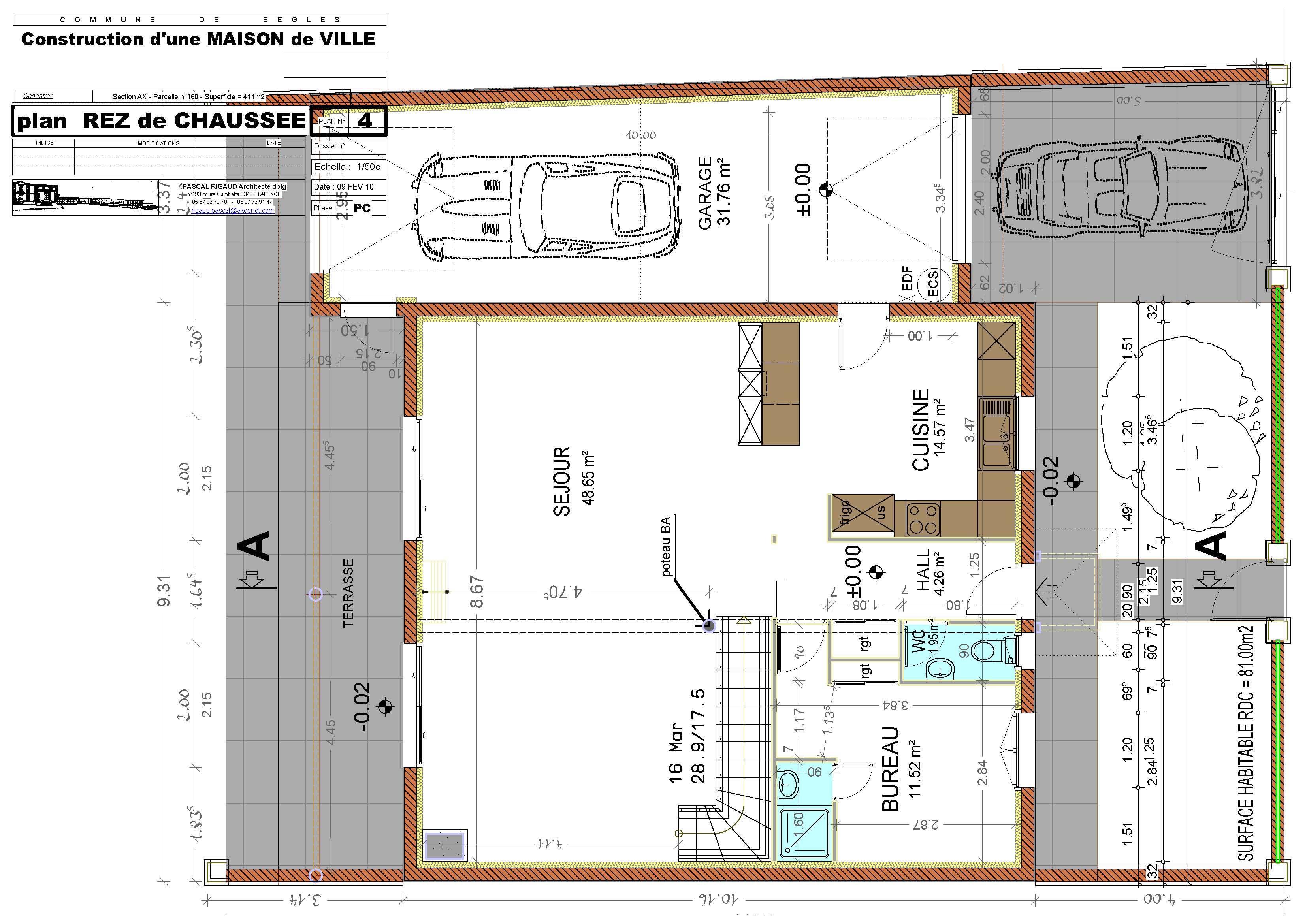 Maison individuelle b gles pascal rigaud architecte for Plan architecture maison