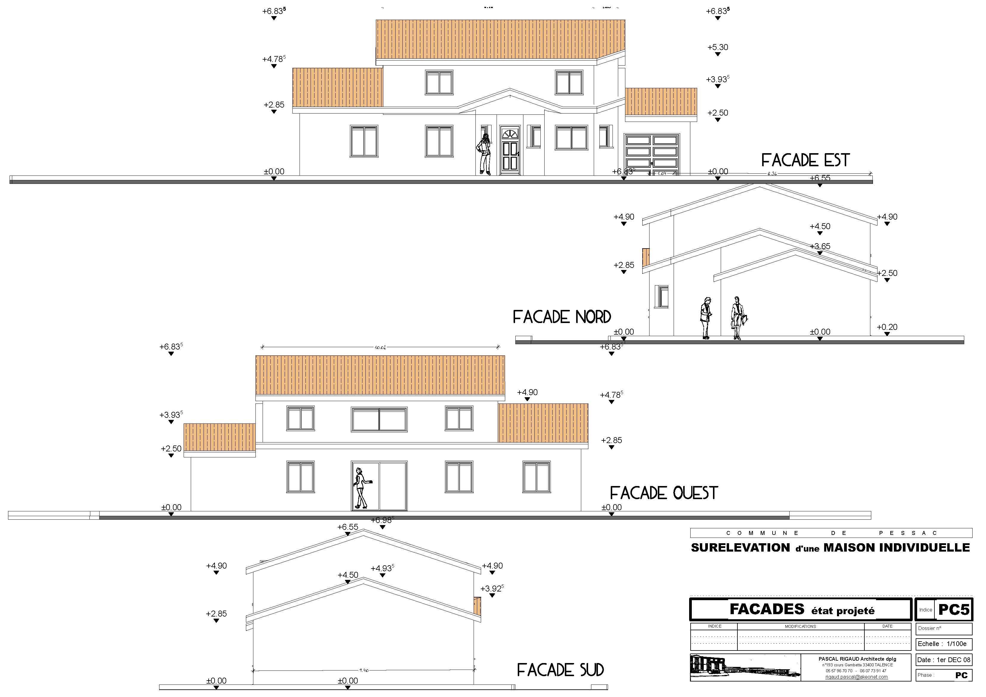 Plan fa ade pascal rigaud architecte dplgpascal rigaud for Plan maison facade